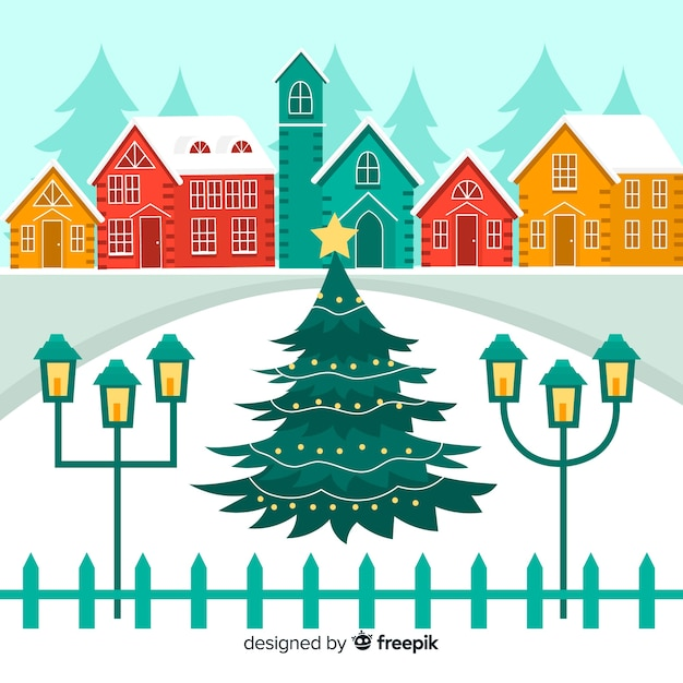 Christmas town flat illustration Free Vector