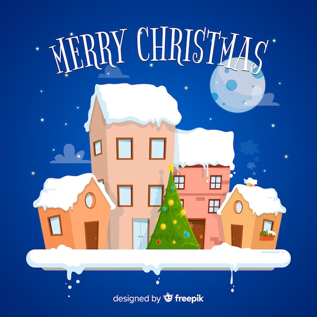 Christmas town in flat style Free Vector