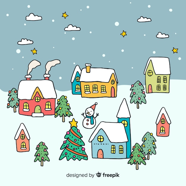 Christmas town in hand drawn style Free Vector