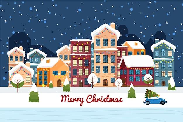 Рождественский городок в плоском дизайне Бесплатные векторы