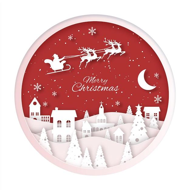 紙のスタイルのクリスマスの町 無料ベクター
