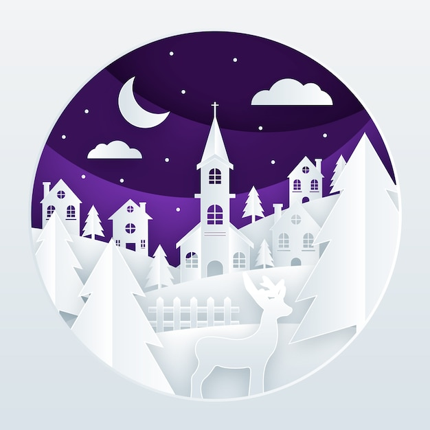 Christmas town in paper style background Free Vector