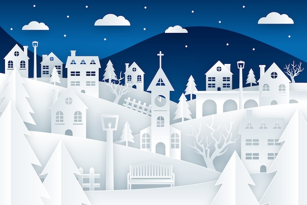 Christmas town in paper style wallpaper Premium Vector