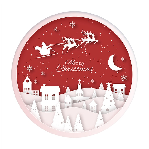 Christmas town in paper style Free Vector