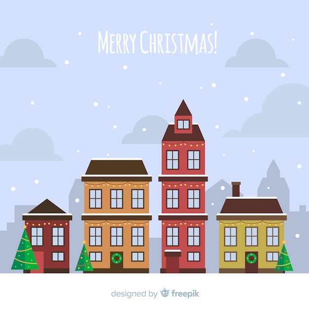 Christmas town Free Vector
