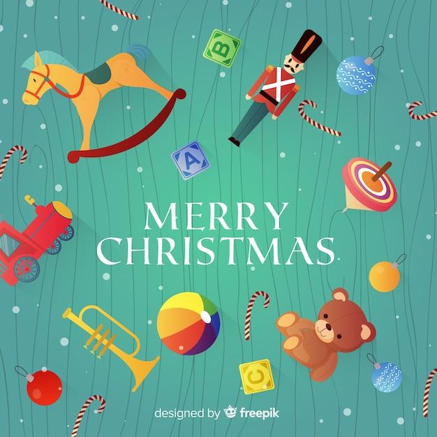 Рождественский фон игрушки Бесплатные векторы
