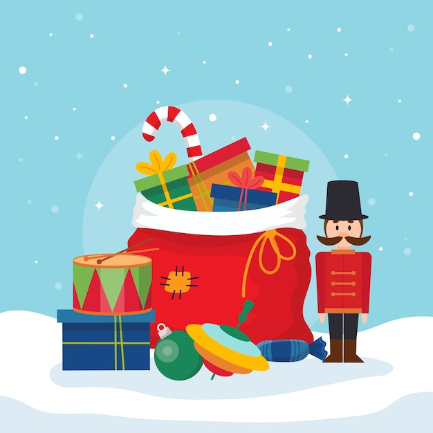 Christmas toys background in flat design Free Vector