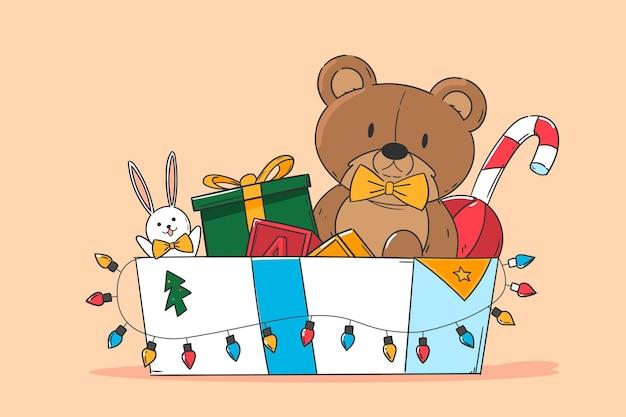 Рождественские игрушки фон в плоском дизайне Бесплатные векторы