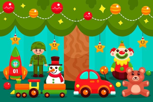 평면 디자인에 크리스마스 장난감 배경 프리미엄 벡터