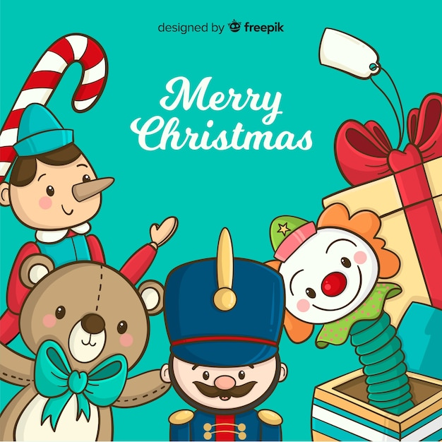 Christmas Toys Background Vector Free Download