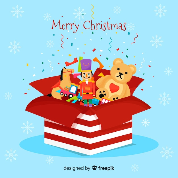 Christmas toys background Free Vector