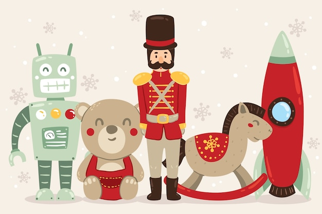 Christmas toys concept in hand drawn Free Vector