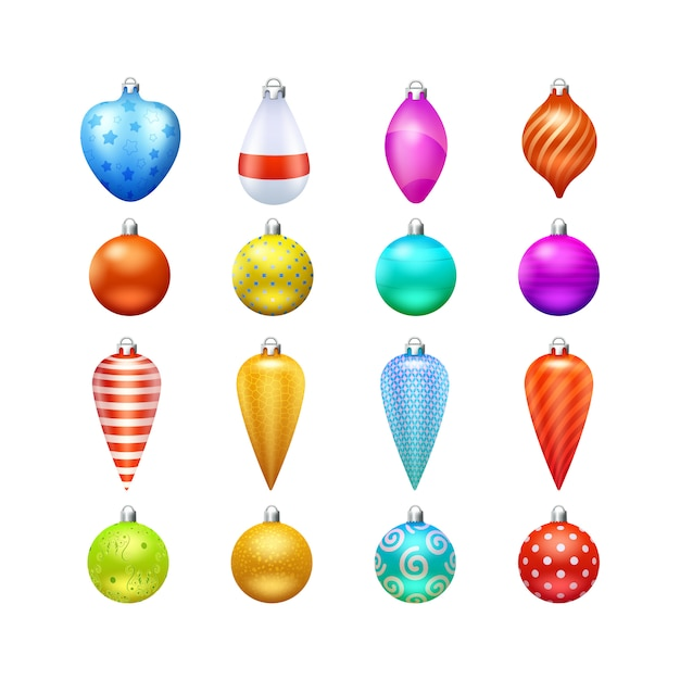 Christmas toys and decorations Free Vector