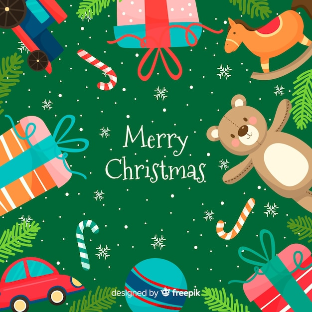 Christmas toys frame background Free Vector