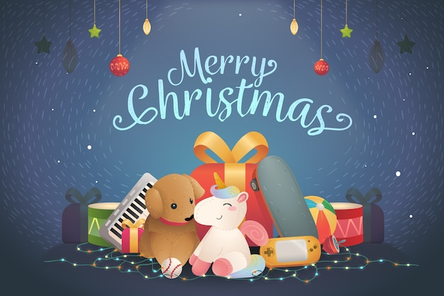 Christmas toys hand-drawn background Free Vector