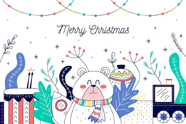 Christmas toys in hand drawn Free Vector