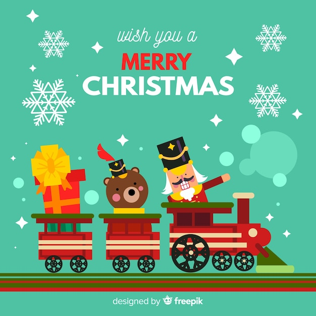 Christmas toys in train background Free Vector