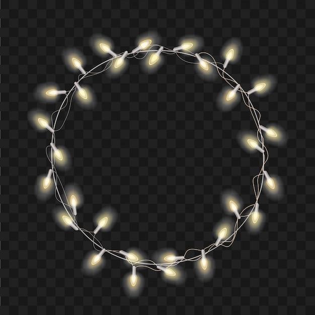 Рождественский трансперант с яркими реалистичными современными венок-гирляндами. рождественские мягкие светящиеся огни. счастливого рождества надписи этикетка. Premium векторы