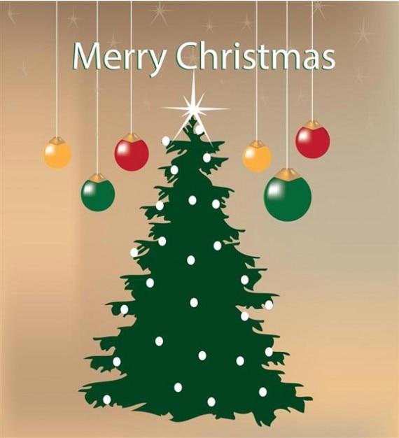 Christmas Tree and Christmas Balls Greeting\ Card