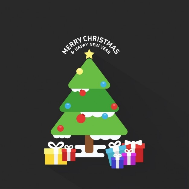 Christmas tree and gift boxes background  Free Vector