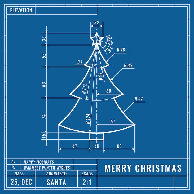 Christmas tree as technical blueprint drawing Premium Vector