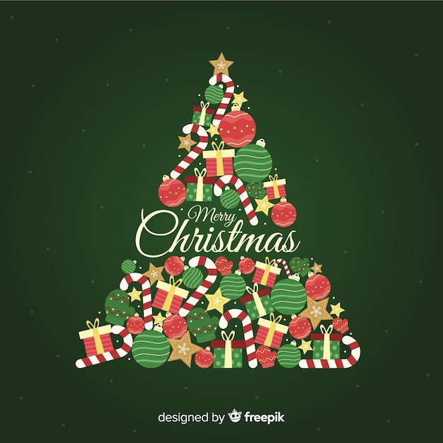 Christmas Tree Backgrounds.Christmas Tree Background In Flat Design Vector Free Download