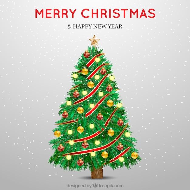 Christmas tree background of beautiful decorative balls Free Vector
