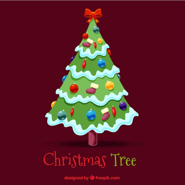 Christmas tree background with bow and balls Free Vector
