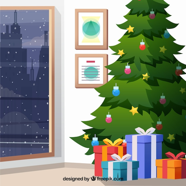 Christmas tree background with gifts