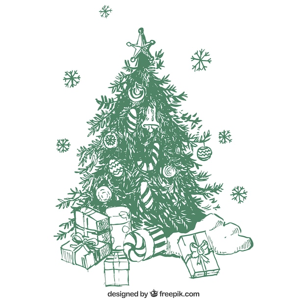 christmas tree background with hand drawn gifts 23 2147579891