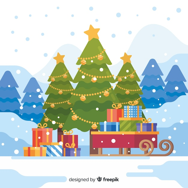 Christmas Trees Background Clipart.Christmas Tree Background With Presents And A Sleigh Vector