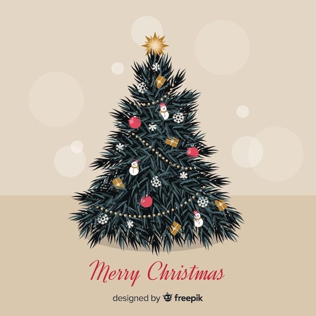 Christmas tree background Free Vector