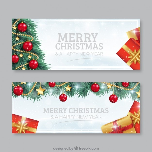 Christmas tree banners Premium Vector