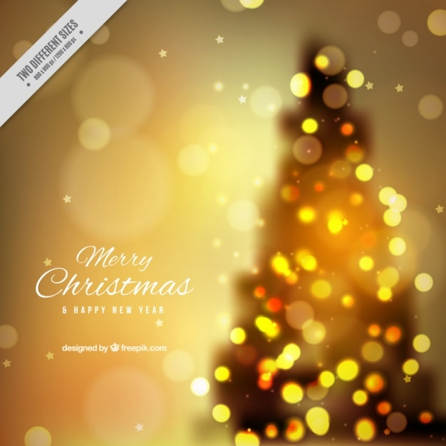 Christmas tree blurred background with bokeh effect Free Vector