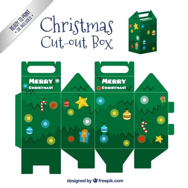 Christmas tree box Free Vector