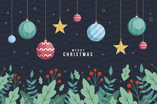 Christmas tree branches background in flat design Free Vector