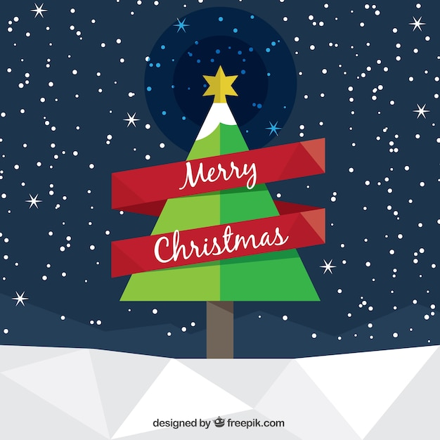 christmas tree card in low poly style free vector - Christmas Tree Card