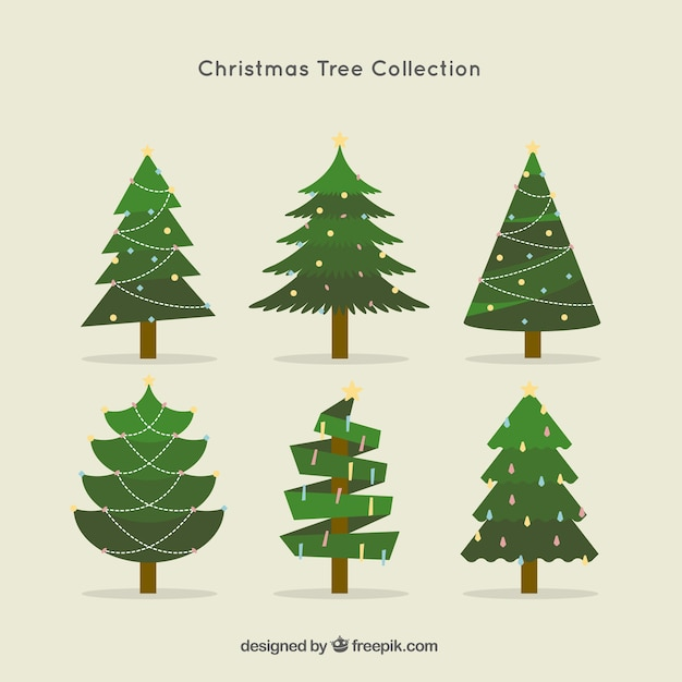 Christmas Tree Collection Manly : Christmas tree collection in flat design vector free