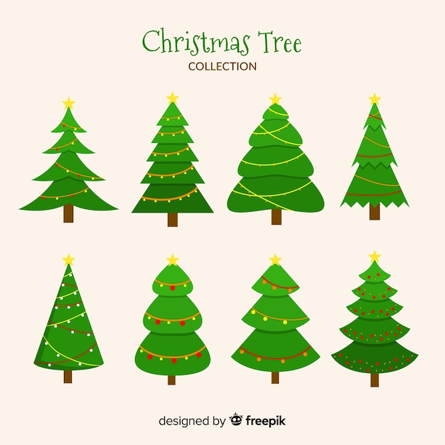 Christmas tree collection with flat design Free Vector