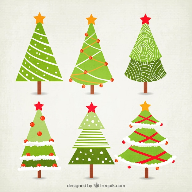 Christmas Tree Collection Free Vector