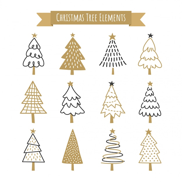 Christmas tree collection. Premium Vector