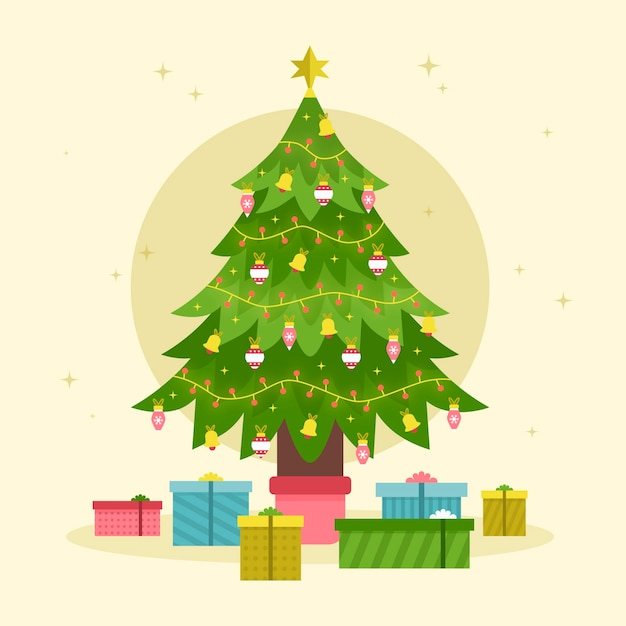 Christmas tree concept in flat design Free Vector