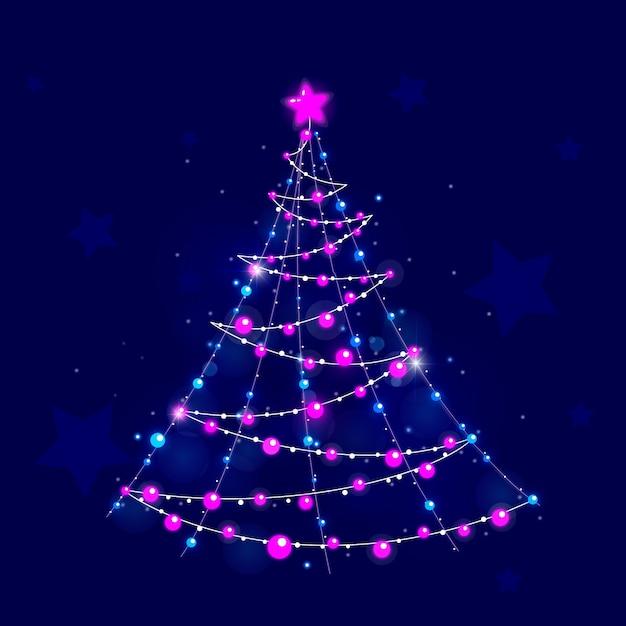 Christmas tree concept made of light bulbs Free Vector