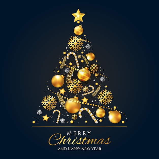 Christmas tree concept made of realistic golden decoration Free Vector
