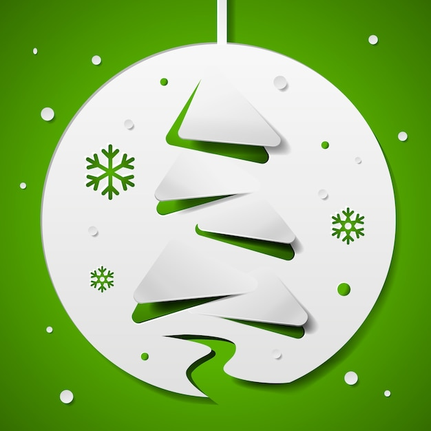Christmas tree concept in paper style Free Vector