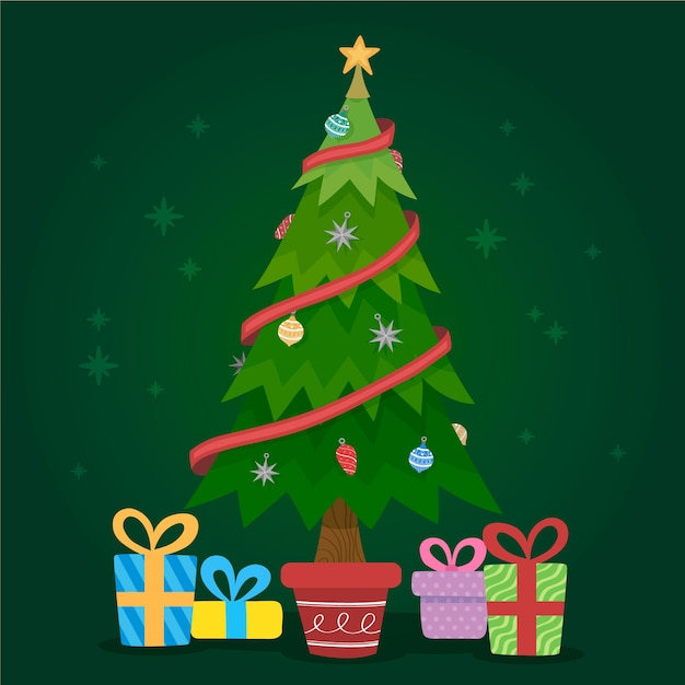 Christmas tree concept with 2d design Vector | Free Download