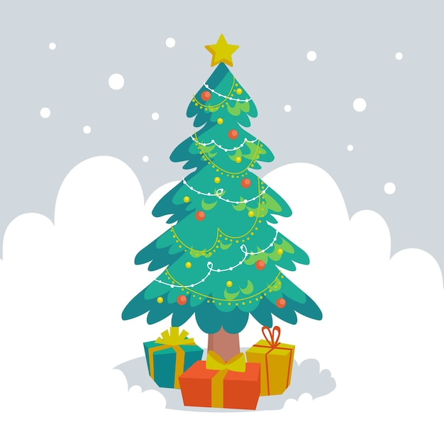 Christmas tree concept with 2d design Free Vector