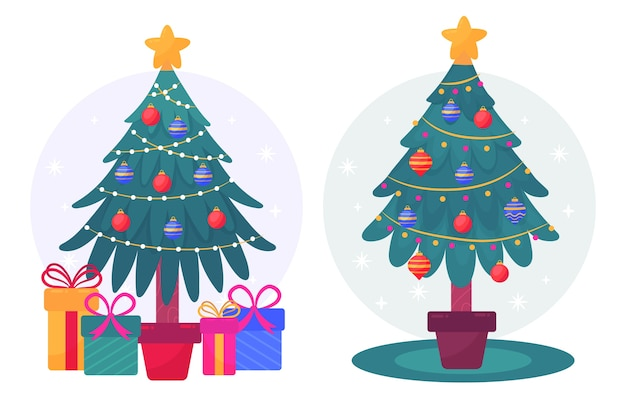 Christmas tree concept with 2d effect Free Vector