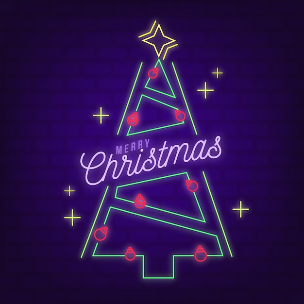 Christmas tree concept with neon design Free Vector