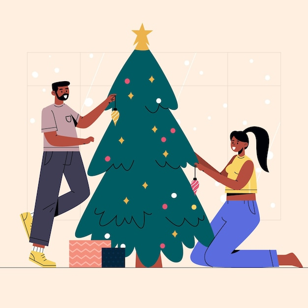 Christmas tree decoration scene Free Vector